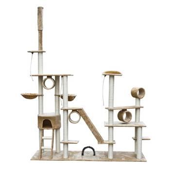 Arbre à chat de luxe 230-260 cm en peluche beige