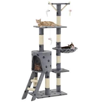 Arbre à chat avec griffoir en sisal 138 cm Gris Motif de pattes