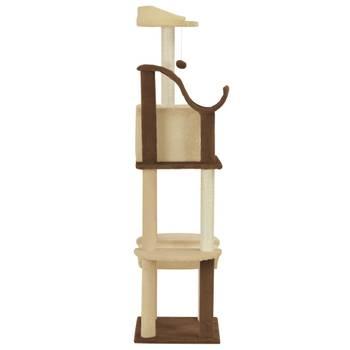 Arbre à chat avec griffoirs en sisal Marron et beige 155 cm