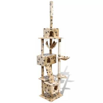 Arbre à chat en beige avec empreinte de patte 220-240 cm 3 niches