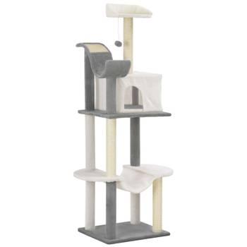 Arbre à chat avec griffoirs en sisal Gris et blanc 155 cm