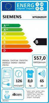 sèche-linge à condensation 60cm 8kg b blanc - siemens - wt43n201ff