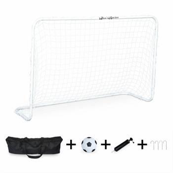 Cage de football CRISTIANO en acier 120 x 80 cm, taille S, mini but de foot avec ballon, pompe et s