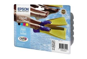 T5846 Picture Pack d'origine 240 280 et Papier brillant (150F) 10X15 + 1CART 4 C EPSON